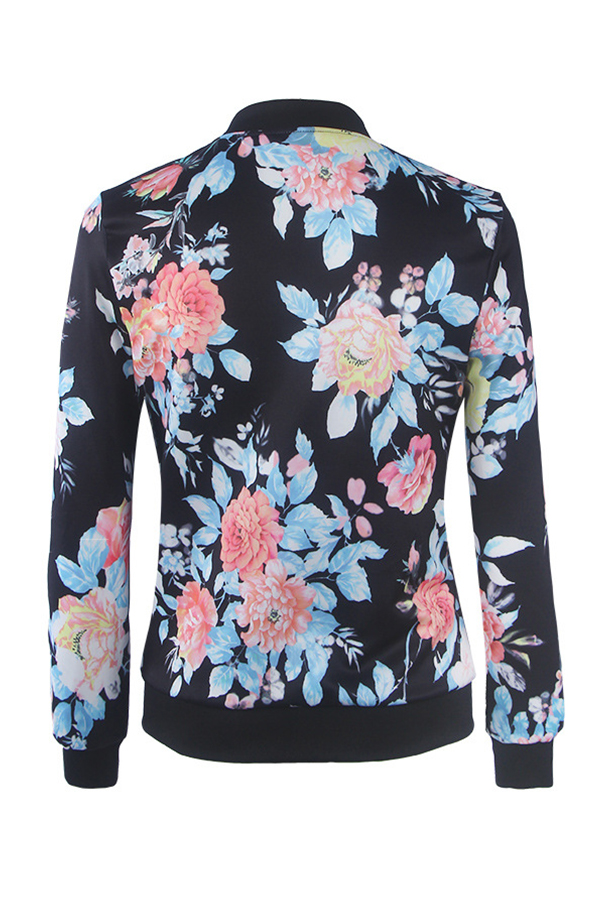 Lovely Casual Floral Printed Dark Blue Coat