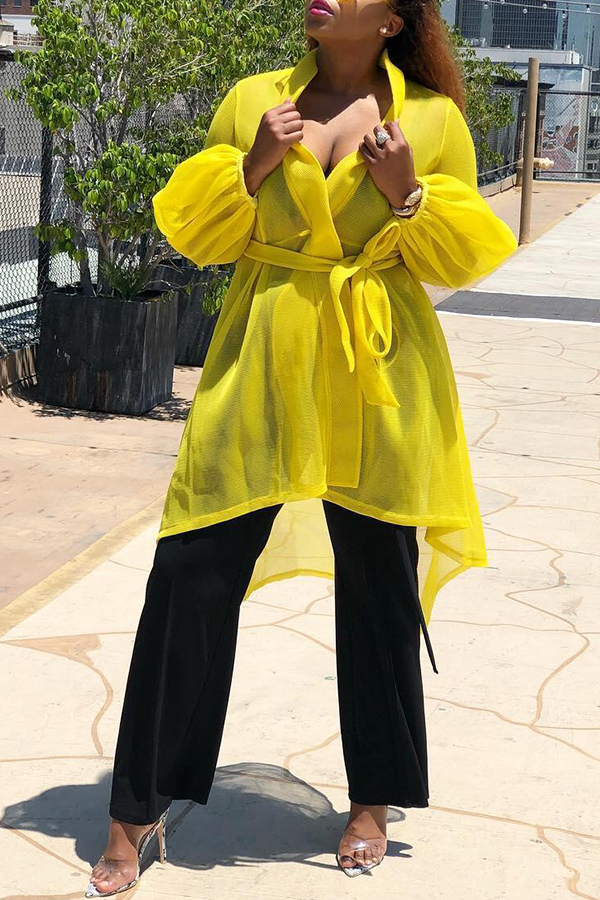 Lovely Casual See-through Yellow Coat