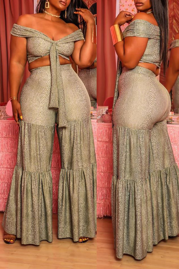 Two-piece Pants Set Lovely Trendy Patchwork Grey Two-piece Pants