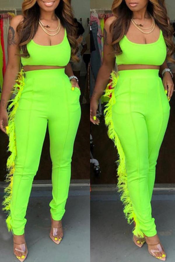 Lovely Casual U Neck Spaghetti Straps Tassel Design Green Two-piece Pants Set