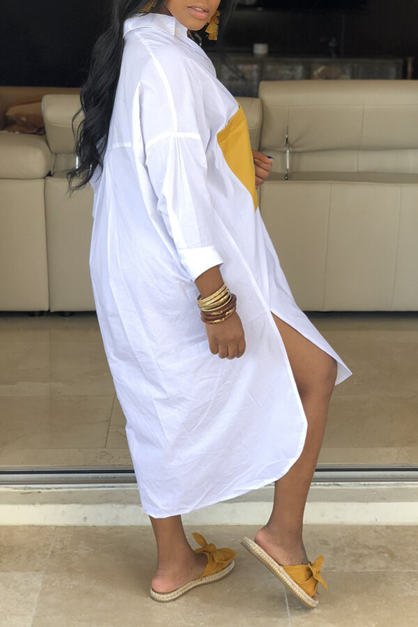 Lovely Casual Turndown Collar Patchwork Asymmetrical White Dress