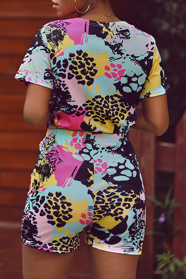 Lovely Casual Printed Multicolor Two-piece Shorts Set