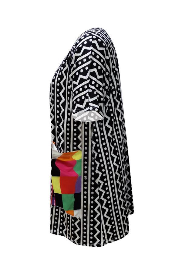 Lovely Casual Geometric Printed Black Knee Length Plus Size Dress