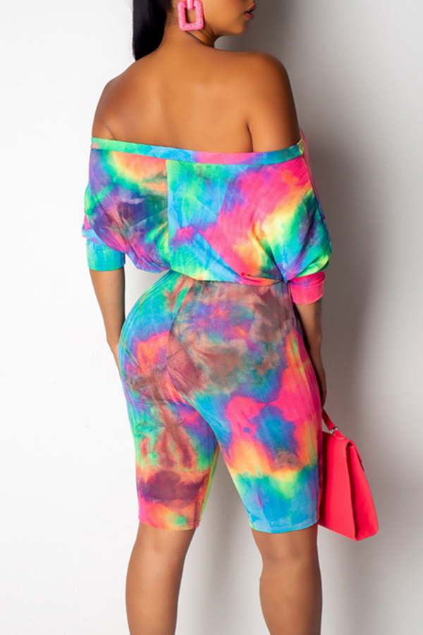 Lovely Casual Off The Shoulder Tie-dye Printed Croci One-piece Romper