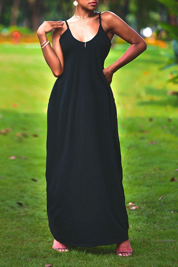 Lovely Casual V Neck Asymmetrical Black Blending Floor Length Dress