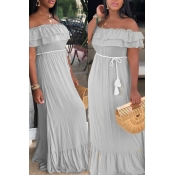 Lovely Sweet Off The Shoulder Ruffle Grey Floor Le