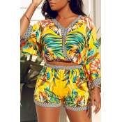 Lovely Bohemian V Neck Printed Yellow Two-piece Sh