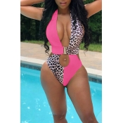 Lovely Hollow-out Patchwork Pink One-piece Swimwear