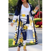Lovely Stylish High Waist Printed Yellow Two-piece Pants Set