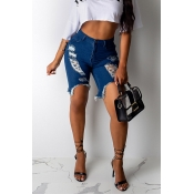 Lovely Stylish Broken Holes Deep Blue Denim Shorts