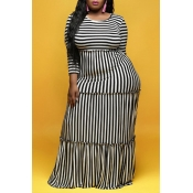 Lovely Casual Striped Black And White Floor Length