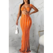 Lovely Sexy U Neck Striped Croci Two-piece Skirt S