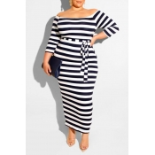 Lovely Casual Off The Shoulder Striped Black Ankle