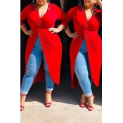 Lovely Casual V Neck Split Red Plus Size Blouse