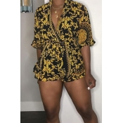 Lovely Casual V Neck Printed Black One-piece Romper
