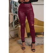 Lovely Casual High Waist Wine Red Leggings