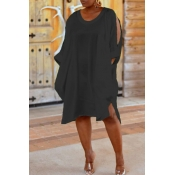 Lovely Trendy Hollow-out Loose Black Knee Length D