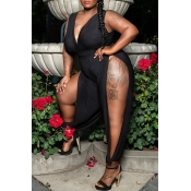 Lovely Sexy V Neck Hollow-out Black Plus Size One-