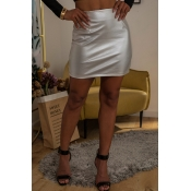 Lovely Casual Silver PU Mini A Line Skirt
