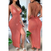 Lovely Sexy See-through Backless Red Cover-up