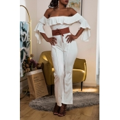 Lovely Casual Off The Shoulder Ruffle White One-pi