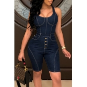 Lovely Casual U Neck Spaghetti Straps Deep Blue De