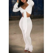 Lovely Sexy Flared Legs White Two-piece Pants Set