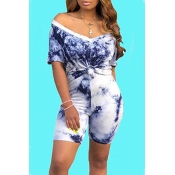 Lovely Casual V Neck Navy Blue Two-piece Shorts Set