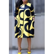 Lovely Casual Geometric Printed Yellow Plus Size K