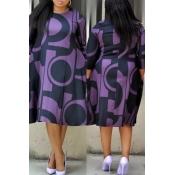 Lovely Casual Geometric Printed Purple Plus Size K