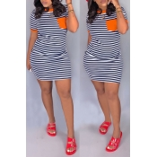 Lovely Casual O Neck Striped Patchwork Croci Mini Dress