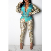 Lovely Casual Printed Blue One-piece Jumpsuit(With
