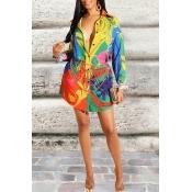 Lovely Trendy Turndown Collar Printed Multicolor M