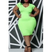 Lovely Casual U Neck Green Knee Length Plus Size D