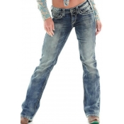 Lovely Casual Gradual Change Deep Blue Jeans