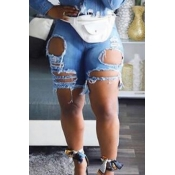 Lovely Casual Broken Holes Baby Blue Denim Shorts