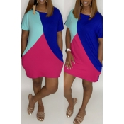 Lovely Casual Color-lump Patchwork Blue Mini Dress