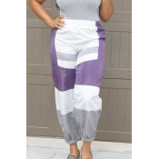 Lovely Chic Color-lump Patchwork Purple Pants