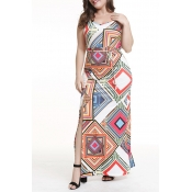 Lovely Chic Geometric Printed White Ankle Length P