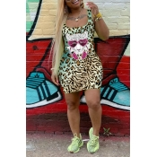 Lovely  Casual U Neck Printed Leopard Mini Wrapped
