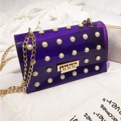 Lovely Trendy Chain Strap See-through Purple Cross
