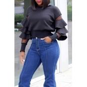 Lovely Chic Layered Ruffle Design Black Blouse