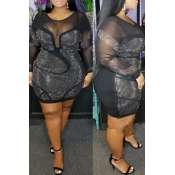 Lovely Sexy See-through Patchwork Black Mini Plus