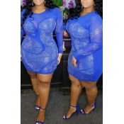Lovely Sexy See-through Patchwork Hot drilling Blu