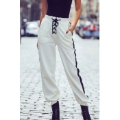 Lovely Casual Gradual Change White Two-piece Pants