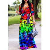 Lovely Casual V Neck Printed Multicolor Floor Leng