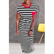 Lovely Casual Striped Red Floor Length Dress