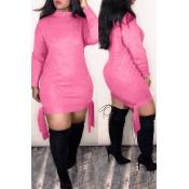 Lovely Sweet Knot Design Pink Mini Dress