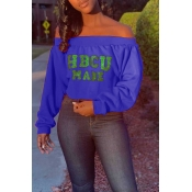 Lovely Casual Dew Shoulder Letter Printed Purple S