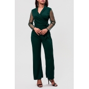 Lovely Trendy Patchwork Green One-Piece Jumpsuit